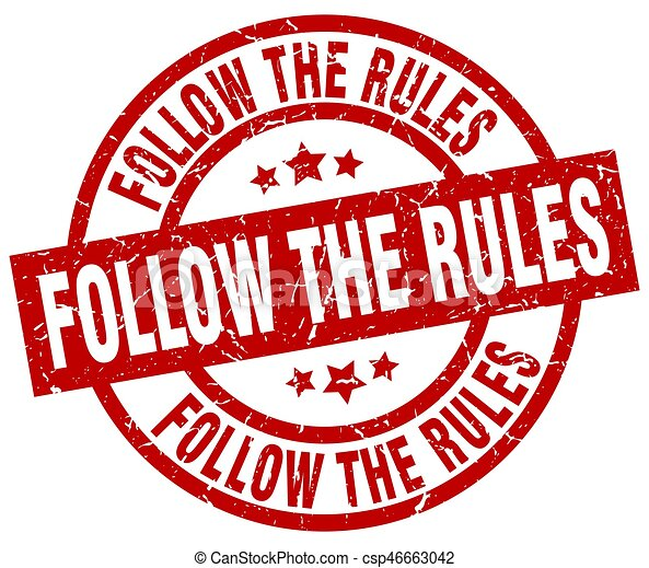 follow the rules round red grunge stamp - csp46663042
