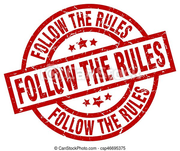 follow the rules round red grunge stamp - csp46695375