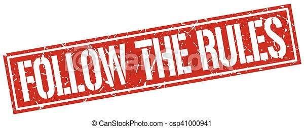 follow the rules square grunge stamp - csp41000941