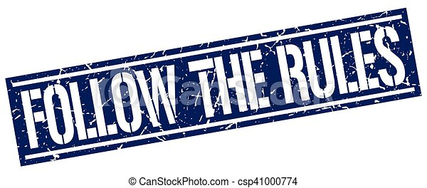 follow the rules square grunge stamp - csp41000774