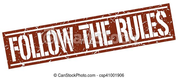 follow the rules square grunge stamp - csp41001906
