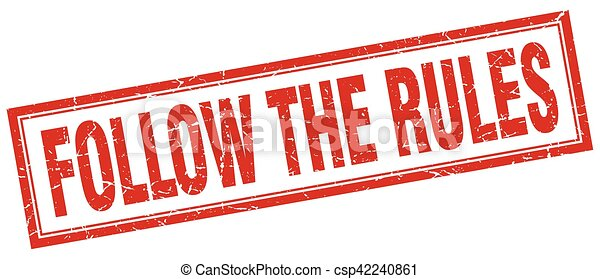 follow the rules square stamp - csp42240861