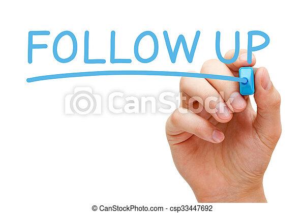 Follow Up Blue Marker - csp33447692