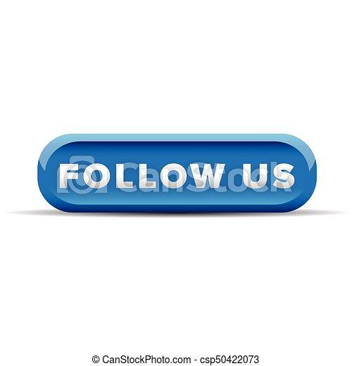 Follow us blue button vector - csp50422073