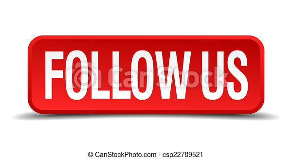 Follow us red 3d square button isolated on white background - csp22789521