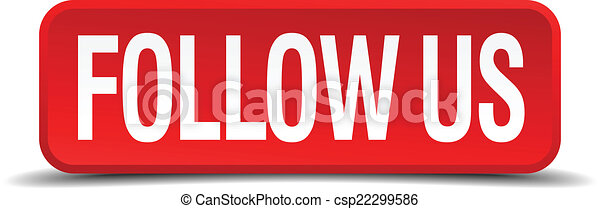 Follow us red 3d square button isolated on white background - csp22299586