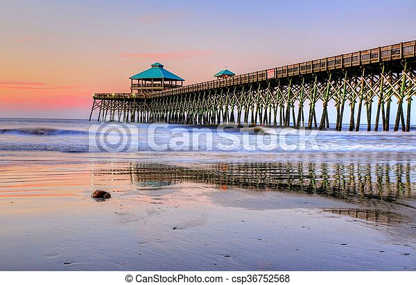 Folly Beach Pier at Sunrise - csp36752568