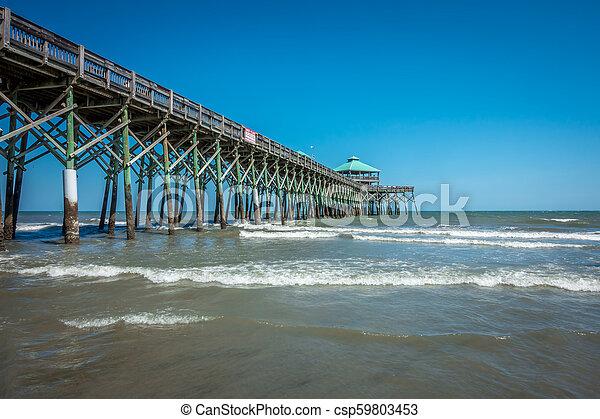 folly beach pier in charleston south carolina - csp59803453