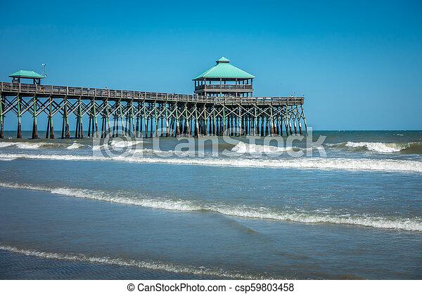 folly beach pier in charleston south carolina - csp59803458