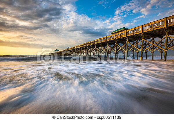 Folly Beach Pier South Carolina Sunrise Ocean Scenic Seascape Photography - csp80511139