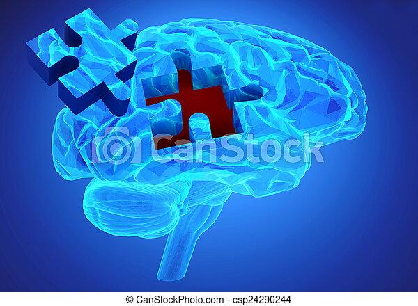fonction, perte, mémoires, maladie, cerveau, démence - csp24290244