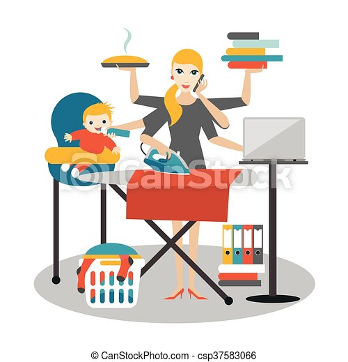 fonctionnement, femme affaires, multitask, coocking, repassage, mère, woman., bébé, calling. - csp37583066