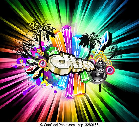 fond, élevé, musique, disco, technologie - csp13280155