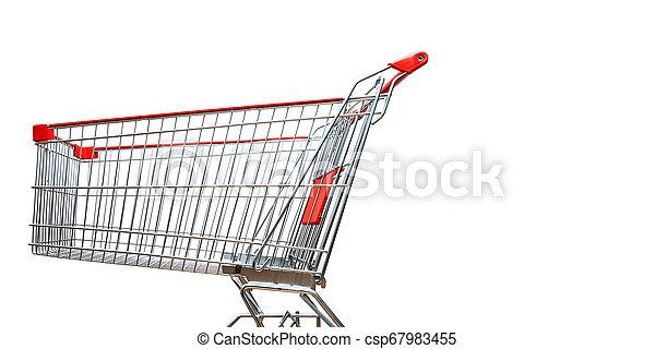 fond, blanc, achats, isolé, charrette - csp67983455