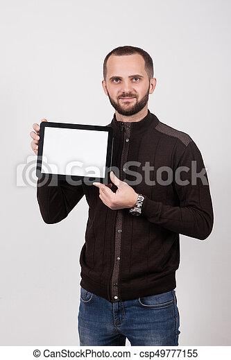 fond blanc, tablette, homme - csp49777155