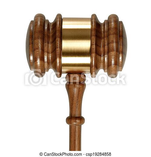 fond, bois, isolé, marteau, juge, blanc - csp19284858