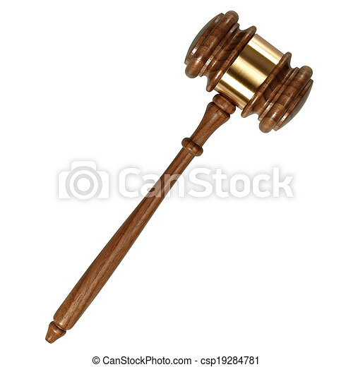 fond, bois, isolé, marteau, juge, blanc - csp19284781