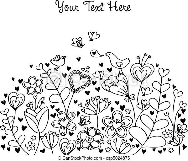 fond, coeur, floral - csp5024875