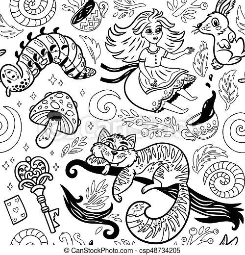 Fond Conte Fées Alice Caractères Encre Pays Merveilles Dessin Animé