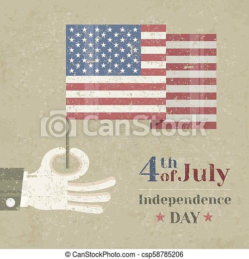 fond, drapeau national, main, américain, tenue - csp58785206