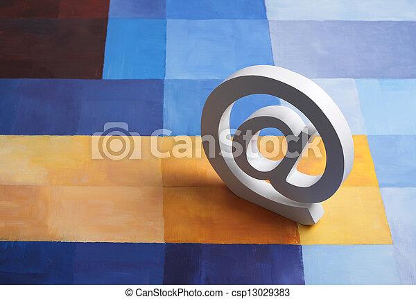@, fond, e-mail, coloré, signe - csp13029383