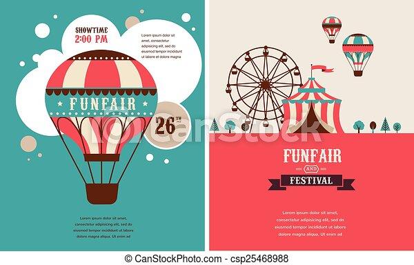 fond, foire, amusement, cirque, vecteur, vendange, affiche, carnaval - csp25468988