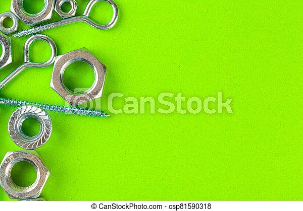 fond, fou, vert, tools., boulons, ingénierie - csp81590318