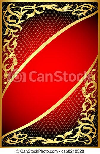 fond, gold(en), filet, rouges, ornement - csp8218528