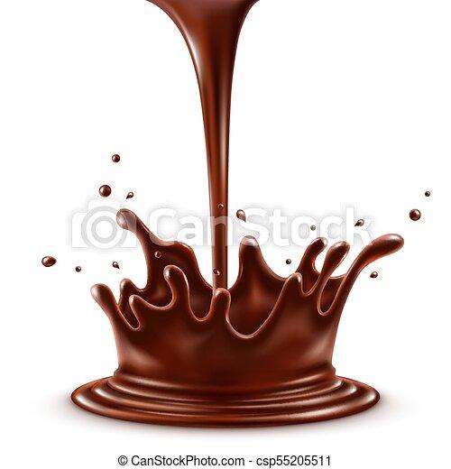 fond, isolé, chocolat, chaud, éclaboussure, verser, blanc - csp55205511