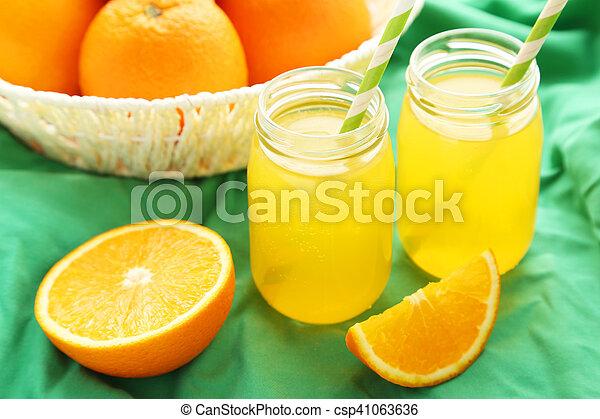 fond, jus orange, vert, bouteille, panier - csp41063636