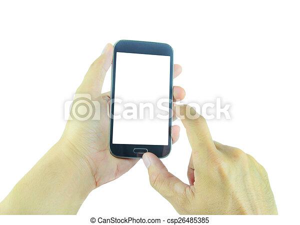 fond, main, téléphone, tenue, blanc, intelligent - csp26485385