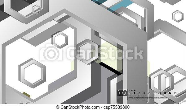 fond, milieu, composition., illustration, résumé, âges, couleur, hexagone, vecteur, géométrique - csp75533800