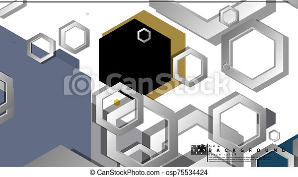 fond, milieu, composition., illustration, résumé, âges, couleur, hexagone, vecteur, géométrique - csp75534424