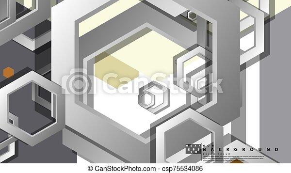 fond, milieu, composition., illustration, résumé, âges, couleur, hexagone, vecteur, géométrique - csp75534086