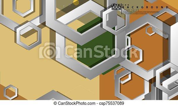fond, milieu, composition., illustration, résumé, âges, couleur, hexagone, vecteur, géométrique - csp75537089