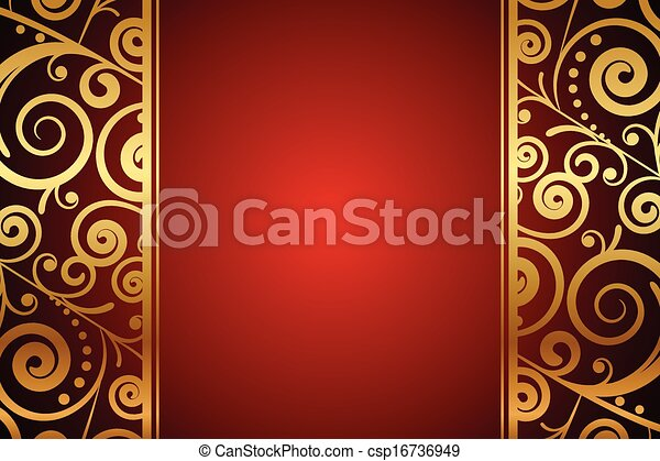 fond, ornements, or, rouges - csp16736949