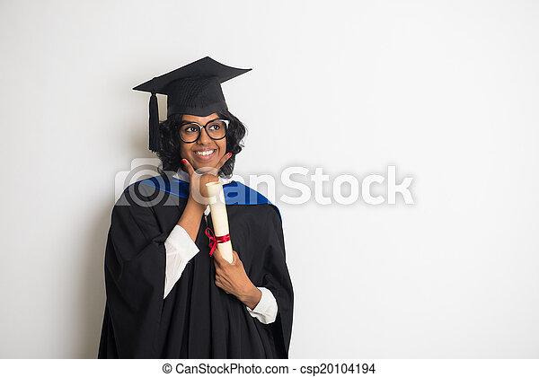 fond, pensée, gris, diplômé, indien, femme - csp20104194