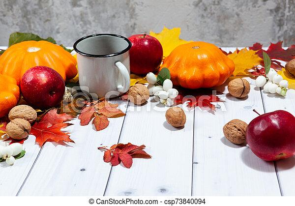 fond, potirons, thé, perspective, pommes, automne - csp73840094
