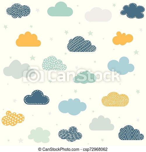 fond, puéril, nuages, seamless, étoiles - csp72968062