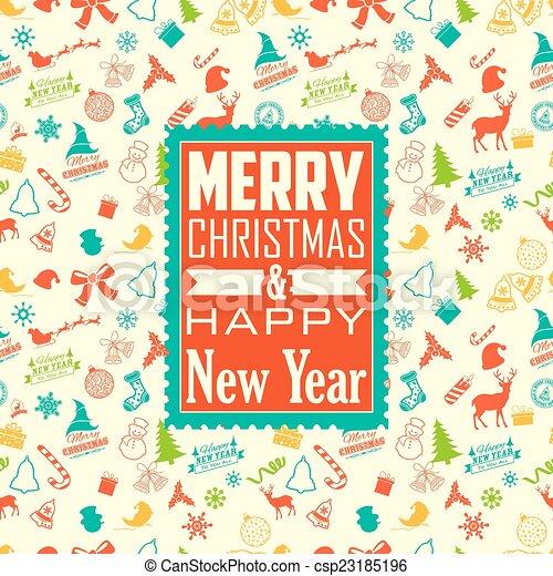 fond, seamless, joyeux, année, nouveau, noël, heureux - csp23185196