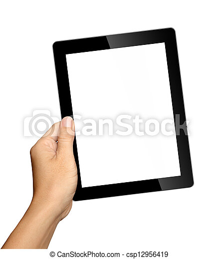 fond, tablette, isolé, main, pc, tenue, blanc - csp12956419