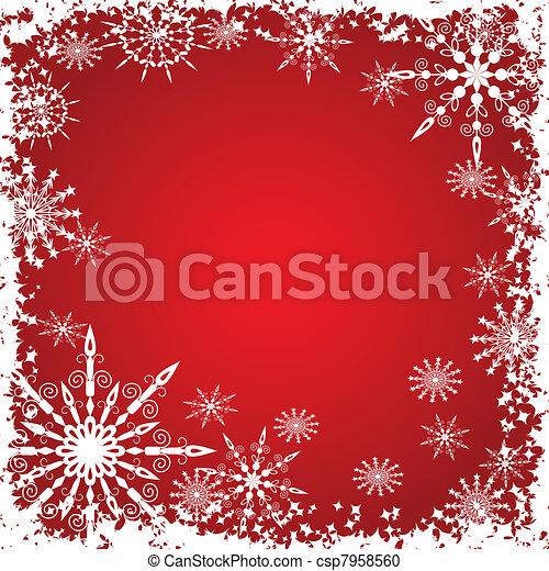 fond, vecteur, grunge, hiver, flocons neige - csp7958560