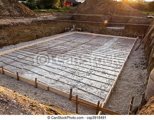 fondation, construction, cave, maison - csp3918491