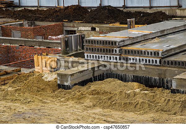 fondation, construction, vue, site, maison - csp47650857