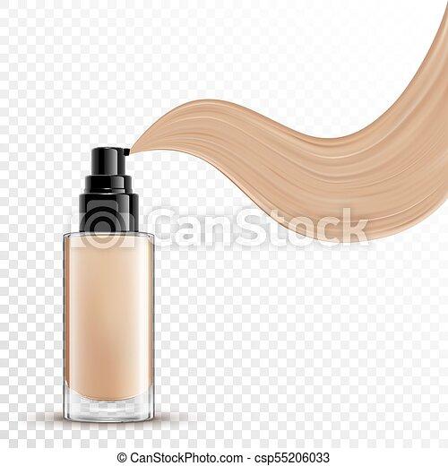 fondation, liquide, maquillage, cosmétique, fond, transparent - csp55206033