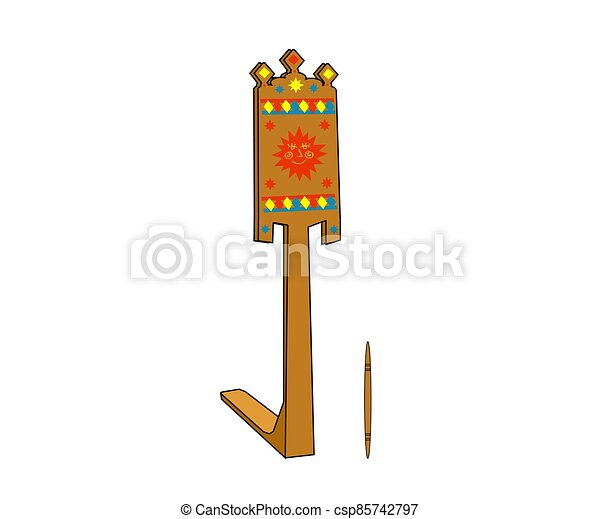 fondo., antigüedad, vector, cartoon., rueda, de madera, girar - csp85742797