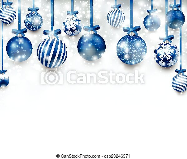 Antecedentes de arco con bolas de Navidad azules. - csp23246371