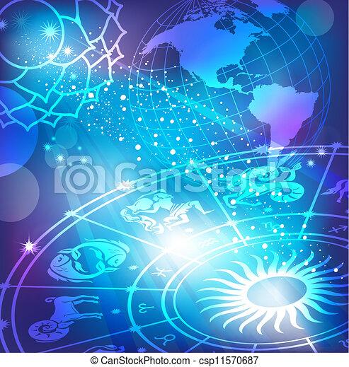 Trasfondo azul con horóscopo - csp11570687