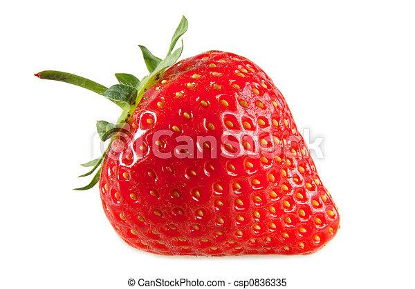 Una fresa roja, aislada en un fondo blanco. - csp0836335