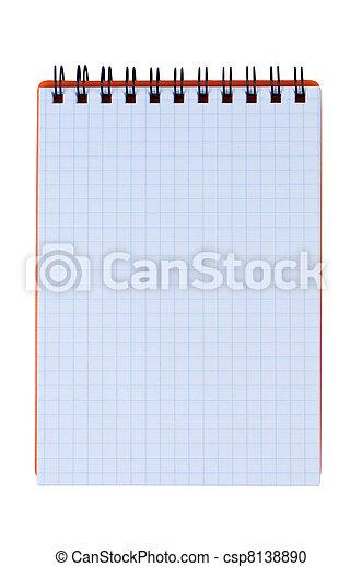 Notepad aislado en fondo blanco. - csp8138890